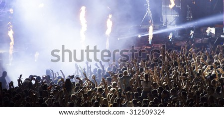 Cluj-Napoca, Romania - July 30, 2015: Crowd of people enjoy Dimitri Vegas & Like Mike live concert at the Untold Festival in the European Youth Capital city of Cluj Napoca #312509324