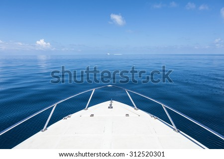 Beautiful view from a bow of yacht at seaward.Copy space Royalty-Free Stock Photo #312520301