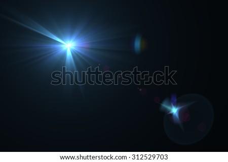 digital lens flare in black bacground horizontal frame #312529703