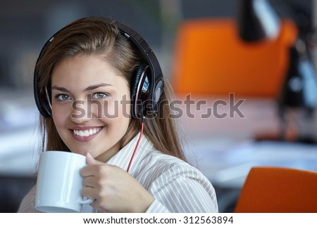 young business woman using computer at office #312563894
