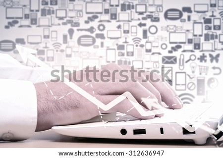 Close up of male hands typing on laptop keyboard #312636947
