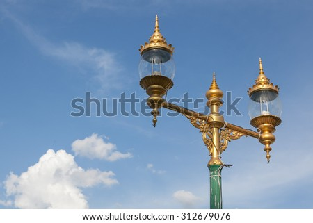 Thailand lamp with blue sky and cloud. #312679076