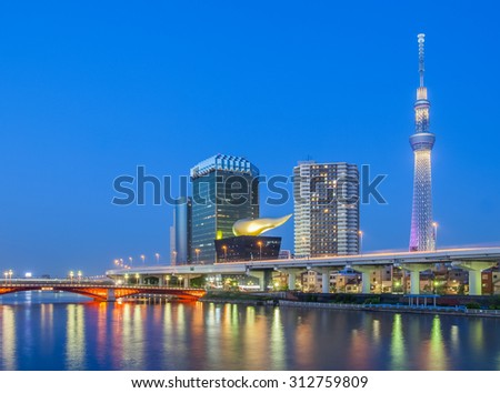 TOKYO - MAY 07 :View of Tokyo Sky Tree (634m) , the highest free-standing structure in Japan and 2nd in the world with over 10million visitors each year on May 07, 2015 in Tokyo Japan  #312759809