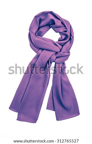 Lilac silk scarf isolated on white background. Female accessory. #312765527