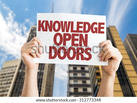 Knowledge Open Doors placard with cityscape background #312773348