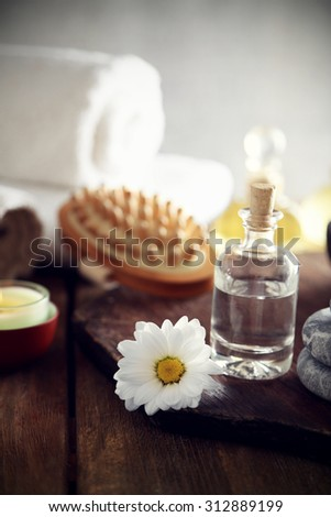 Composition of spa treatment on table colorful background #312889199