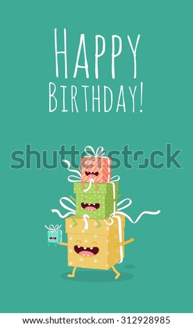 Greeting card Happy Birthday present boxes. Comic characters. Vector cartoon. Use for card, poster, banner, web design and print on t-shirt. Easy to edit. Vector illustration.