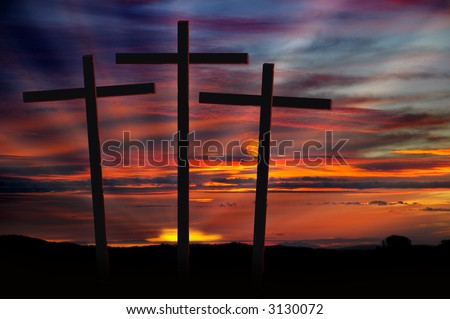 Three Christian Crosses Silhouetted Against Dramatic Radiant Red Sunset #3130072