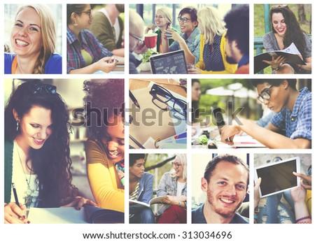 Diversity College Student Digital Devices Teamwork Concept #313034696