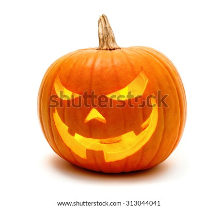 Jack o Lantern Halloween pumpkin grinning in the most evil fashion, isolated on white #313044041