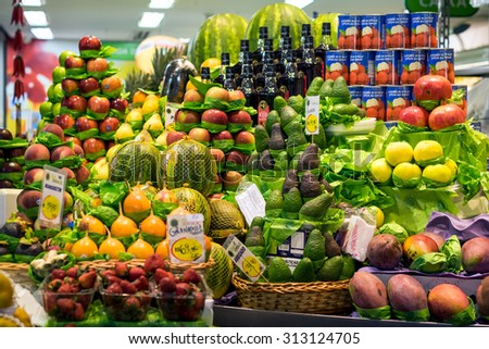 Sao Paulo, Brazil - March 14: Colorful fresh fruit stand at the traditional Municipal Market (Mercado Municipal), or Mercadao, in Sao Paulo, Brazil. #313124705