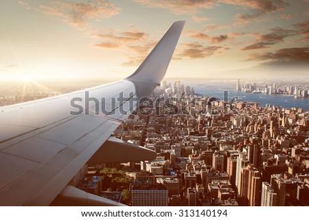 Flight over New York City Royalty-Free Stock Photo #313140194