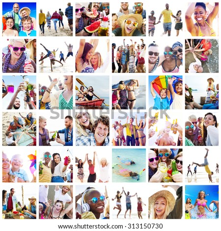 Collage Diverse Faces Summer Beach People Concept #313150730
