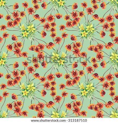 Summer garden blooming watercolor flowers seamless pattern on green background #313187510
