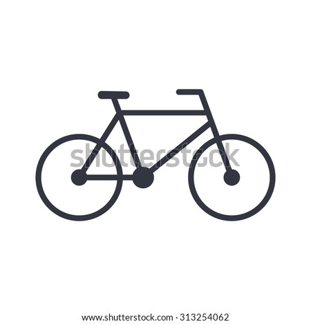 Bicycle outline icon, modern minimal flat design style, bike vector illustration