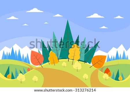 Autumn Landscape Mountain Forest Road Blue Cloud Sky With Sun Tree Woods Flat Design Vector Illustration #313276214