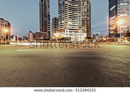 Urban city at night with traffic and night skyline #313384235