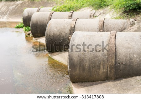 Rain drainage pipes, concrete #313417808
