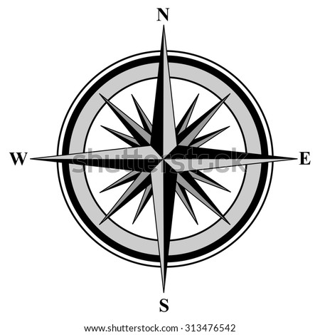 Illustration of a compass with all directions north east south and west isolated on white background.