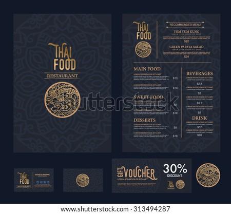 vector thai food restaurant menu template. Royalty-Free Stock Photo #313494287