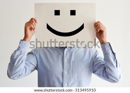 Career happiness with employee holding a blank paper and a smiley #313495910