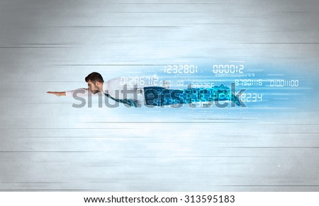 Businessman flying super fast with data numbers left behind concept #313595183