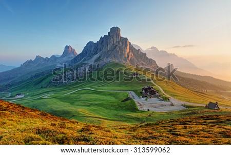 Dolomites landscape Royalty-Free Stock Photo #313599062