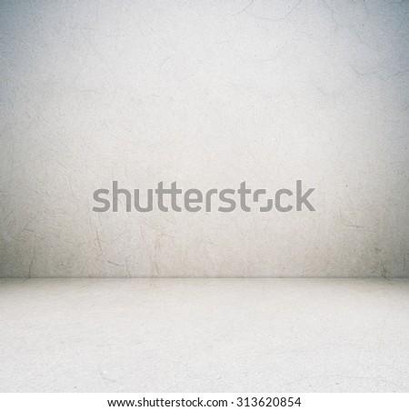 Empty cement room in perspective view, grunge background, interior design #313620854