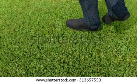 walking on green grass 3D render foot #313657550