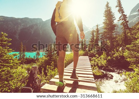 Hiking man in the mountains Royalty-Free Stock Photo #313668611