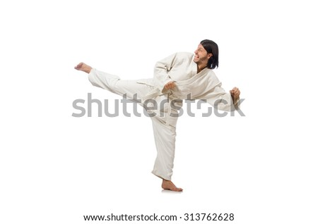 Karate fighter isolated on white #313762628