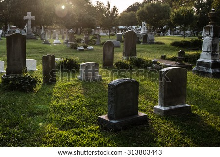 Tombstones in cemetery at dusk Royalty-Free Stock Photo #313803443