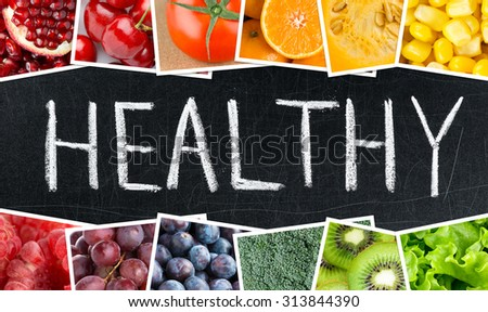 Healthy concept. Fresh color fruits and vegetables #313844390
