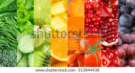 Fresh fruits and vegetables. Healthy food background #313844438
