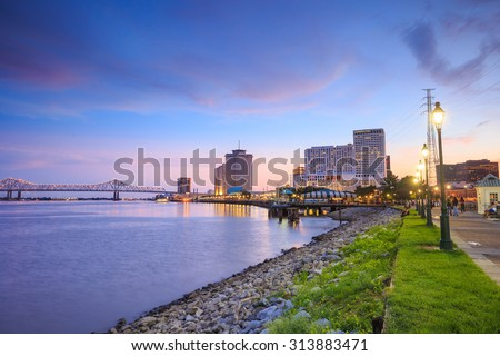 Downtown New Orleans, Louisiana and the Missisippi River at twilight