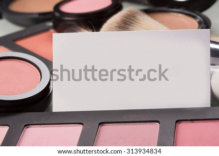 makeup cosmetics for eyes and business card