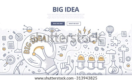 Doodle design style concept of big idea, finding solution, brainstorming, creative thinking. Modern line style illustration for web banners, hero images, printed materials Royalty-Free Stock Photo #313943825