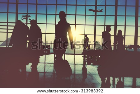 Back Lit Business People Traveling Airport Passenger Concept #313983392