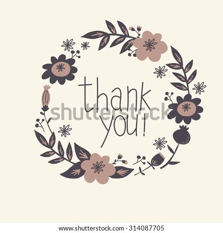 floral thank you card vector design #314087705