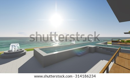 Pool and houses by the ocean. 3D render #314186234