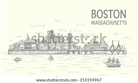 Boston city hand drawn, sketch style, isolated illustration