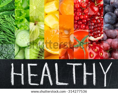 Healthy fresh color food. Fruits and vegetables concept #314277536