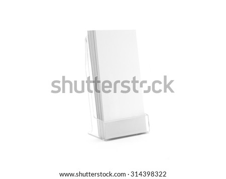 Flyer glass plastic holder. Flier stand. Brochure holding mock up for the design presentation  isolated on white. Showing leaflet design. Empty pamphlet template. #314398322