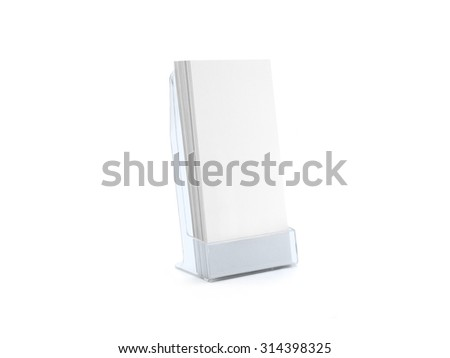 Flyer blue glass plastic holder stand. Brochure holding. Flier mock up for the design presentation isolated on white. Show leaflet template. #314398325