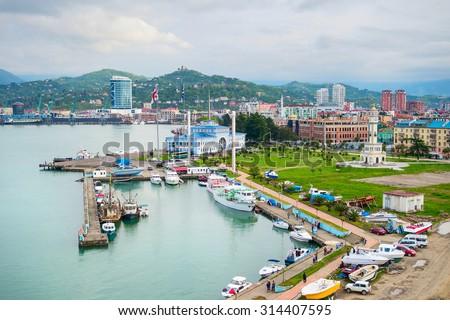 Batumi Sea Port with boats and passenger terminal. Georgia #314407595