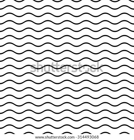 Black vector simple seamless wavy line pattern Royalty-Free Stock Photo #314493068