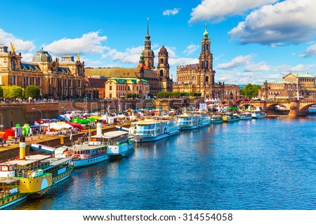 Scenic summer view of the Old Town architecture with Elbe river embankment in Dresden, Saxony, Germany Royalty-Free Stock Photo #314554058