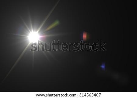 digital lens flare in black background horizontal frame warm #314565407