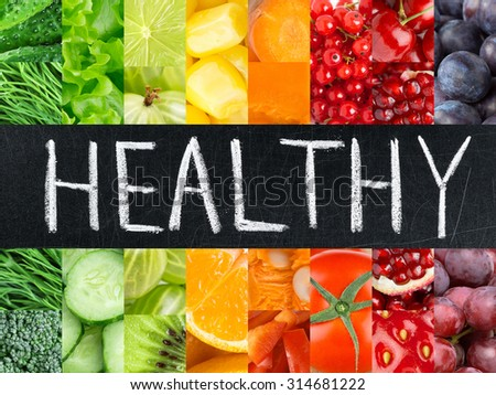 Healthy fresh color food. Fruits and vegetables concept #314681222