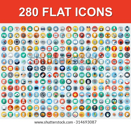 280 Universal Flat Icons Royalty-Free Stock Photo #314693087